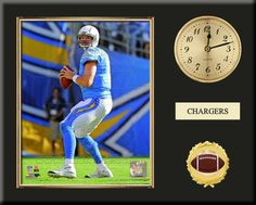 One 8 x 10 inch San Diego Chargers photo of Ryan Mathews inserted in a gold slide-in frame and mounted on a 12 x 15 inch solid black finish plaque.  Also features a 3-inch Arabian gold-faced clock, a customizable nameplate* and a 2-inch football medallion with a gold base.  $59.99 @ ArtandMore.com