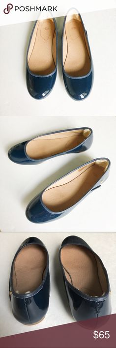Ugg Ballet Flats New patent leather ballet flats by Ugg. Shearling lining along the inside heel for comfort. Color is navy. Your future new go-to shoes! UGG Shoes Flats & Loafers