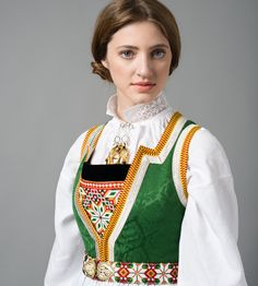 Hello all, Today I will cover the last province of Norway, Hordaland. This is one of the great centers of Norwegian folk costume, hav. Folk Costume, Costumes, Ice Queen, Traditional Outfits, Norway, Collars, Bomber Jacket, Sari, Female