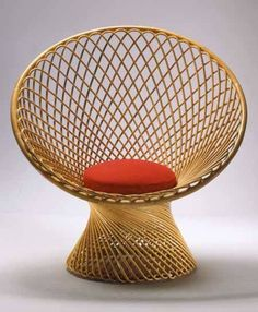 Contemporary armchair / rattan / central base / by Franco Albini PRIMAVERA Bonacina Vittorio Rattan Garden Furniture, Bamboo Furniture, Modern Outdoor Furniture, Design Furniture, Modern Chairs, Chair Design, Vintage Furniture, Furniture Decor, Italian Patio