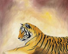 Bengal tiger 5x7 PRINT by painterplace on Etsy