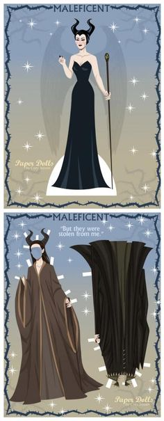 Free printable paper dolls + clothes for Maleficent and other villains!