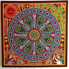 23-5-Mexican-Huichol-Peyote-Sun-Marakame-and-Tree-of-Wind-yarn-painting