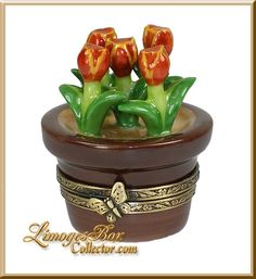 Red Tulips in Flower Pot Limoges Box by Beauchamp Limoges,  www.LimogesBoxCollector.com, an extensive selection of Limoges boxes in all styles and themes, gift for mom