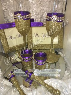 Gold and Purple Royalty Wedding Set, bride and grooms gift, bridal shower, wedding gift Wedding Wine Glasses, Diy Wine Glasses, Decorated Wine Glasses, Wedding Champagne Flutes, Champagne Glasses, Purple And Gold Wedding Themes, Purple Wedding, Purple Party, Glitter Wedding