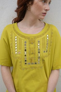 Virginia Dress - Embroidered Cotton T-Shirt Dress – Souk Indigo Neck Designs For Suits, Dress Neck Designs, Stylish Dress Designs, Designs For Dresses, Sleeve Designs, Stylish Dresses, Blouse Designs, Hand Embroidery Dress, Kurti Embroidery Design