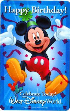 Celebrating a Birthday at Walt Disney World - Birthday Month Disney Birthday Quotes, Disney Birthday Card, Disney World Birthday, Mickey Birthday, Christmas Birthday, Happy Birthday In Spanish, Cute Happy Birthday, Happy Birthday Wishes, Birthday Greetings