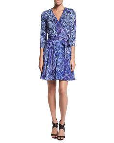 Irina Python-Print Combo Wrap Dress by Diane von Furstenberg at Neiman Marcus.
