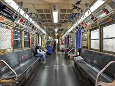An authentic 1960's subway car anchors the Mapos-designed Asics store in New York. #interiordesign #interiordesignmagazine #design #projects #retail