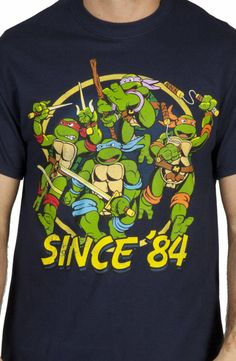 Since 1984 Mikey, Raf, Leo and Don have kept busy by being bad ass and attacking full force. This Ninja Turtles Shirt shows each turtle charging forward with their signature weapon ready to strike. Tmnt Games, Turtles Forever, Wwe Shirts, Turtle Costumes, Ninja Turtle Party, T Shirt Costumes, Movie T Shirts, Pics Art, Teenage Mutant Ninja Turtles