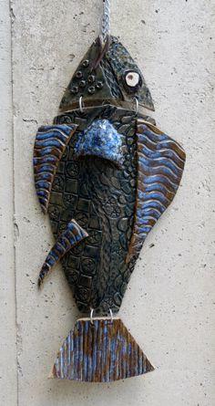 Ceramic Fish Stoneware Fish Wall Hanging by GardenGateDesign, $55.00