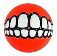 GRINZ BALL MEDIUM Funny Smile Dog  Puppy Rubber Treat  Fetch Ball Toy FLOATS red -- Click image for more details.(This is an Amazon affiliate link and I receive a commission for the sales)