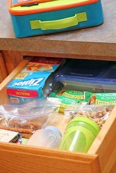 lunch packing drawer - time saving tip