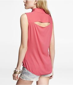 SLEEVELESS CUT-OUT PORTOFINO SHIRT | Express
