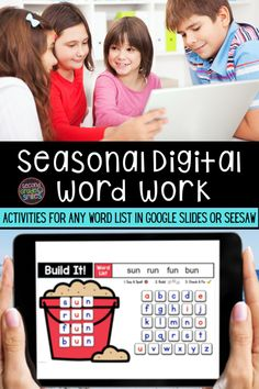 Need digital word work options for your class? Whether you use Google Classroom or Seesaw, I've got you covered! Type in any spelling list or high-frequency word list into these easy to use templates. Fun and engaging digital practice! Spelling Lists, Spelling Words, Word Work Games, Digital Word, Smile Word, Fun Buns, High Frequency Words, Work Activities, Seesaw
