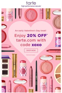 Tarte Valentine's Day email. SL: from us, to you...20% OFF! ❤