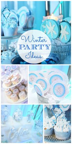 A lovely Winter Snowflake party for a Quincenera filled with blue and white party favors, decorations and treats!  See more party ideas at CatchMyParty.com!