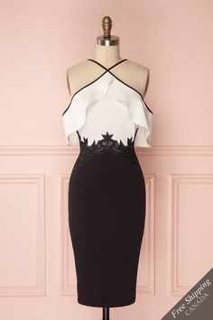 Jinane Black & White Ruffled Fitted Cocktail Dress | Boutique 1861
