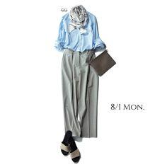 首もとにきちんと感、足もとに抜け感を持ってくるのが上級テクMarisol ONLINE|女っぷり上々!40代をもっとキレイに。 College Fashion, Office Fashion, Work Fashion, Daily Fashion, Fashion Outfits, Womens Fashion, Mature Fashion, Japanese Street Fashion, Work Attire