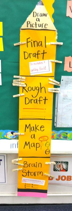 but with our writing process steps... good way to keep track of where kids are at, and if a helper comes in its easy for them to see who needs help.