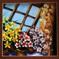 Flowers Pots, a unique 3D oil painting from Exotix Arts via Etsy.