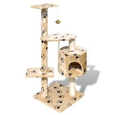 Cat Tree Scratching Post 45' 1 Condo Beige w/ Paw Prints Tower Furniture Play *** You can get more details here : Cat scratching post