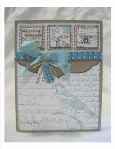 F4A155 Going Postal with Blues and Browns by Hallupino - Cards and Paper Crafts at Splitcoaststampers