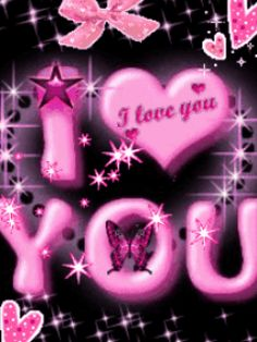 Animated i luvyou pink flowers mobile phone wallpapers