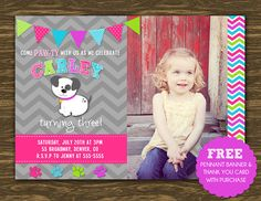 Girl Puppy Birthday Invitation - Printable - FREE pennant banner and thank you card with purchase