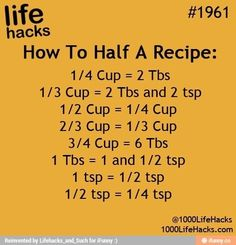 "Awesome Life Hacks Everyone Should Try Who couldn't use a few tips and tricks to make their life a little bit easier? Everyone can, which is why we put together some of the top simple solutions and ""hacks"" fro… Simple Life Hacks, Useful Life Hacks, Summer Life Hacks, 1000 Lifehacks, Half And Half Recipes, How To Half A Recipe, Kitchen Measurements, Recipe Measurements, Think Food"