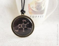 FREE SHIPPING    Adorable brown necklace featuring Caffeine molecule is produced using a high quality photo image which is then completely covered over