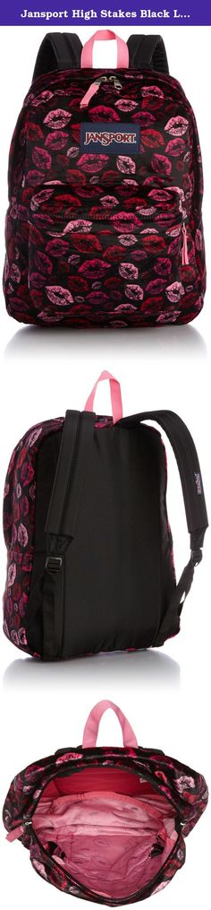 Jansport High Stakes Black Lips TRS70AR. The JanSport High Stakes backpack, constructed of premium polyester Cordura fabric, is a durable everyday backpack ideal for school or for day or overnight trips. Its large main compartment stores books and binders easily, and its front utility pocket contains an organizer for keeping small essentials like pens, pencils, note cards and electronics handy. Ergonomically designed, the JanSport High Stakes backpack has a padded back panel and padded...