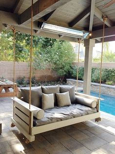 outdoor porch bed swing 18 - iTs Home Ideas Outdoor Porch Bed, Outdoor Spaces, Outdoor Living, Outdoor Decor, Patio Bed, Outdoor Patio Swing, Patio Hammock Ideas, Porch Swing Beds, Front Porch Swings