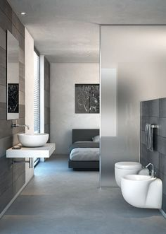 Taking the partition to the next level, this particular en suite does not even have a whole wall separating the bedroom from the bath, inste...