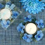 Elegant Wedding Favor Frosted Blue Glass Flower Candle Holder