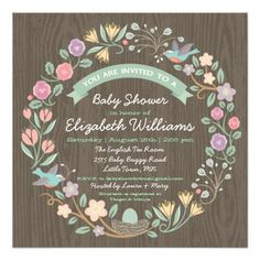 Woodland Floral Wreath Baby Shower Invitation II — Pretty woodland flowers with two birds building a nest, complete this charming modern baby shower invitation on a wood grain background. The back of the card has a pretty floral pattern. Unique Baby Shower, Gender Neutral Baby Shower, Floral Baby Shower, Baby Shower Invitations For Boys, Baby Shower Themes, Baby Boy Shower, Baby Showers, Shower Ideas, Invitation Design