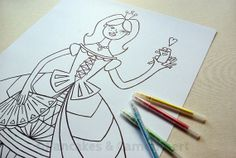 Coloring poster - Princess by PancakesCamembert on Etsy, Girl Bedroom Walls, Poster Colour, All Poster, Paper Goods, Pancakes, Coloring, Greeting Cards, Etsy, Art Prints