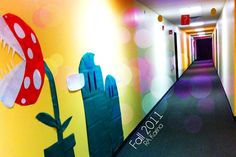 """karina-creative: """"Hours: School: University of Central Florida RA: Karina Garcia ——- Since my floor is the top floor, I thought to make it the """"FINAL LEVEL"""". Dorm Themes, Classroom Themes, College Bulletin Boards, Dorm Door, Ra Bulletins, Resident Assistant, Neon Room, School Displays, Door Tags"""