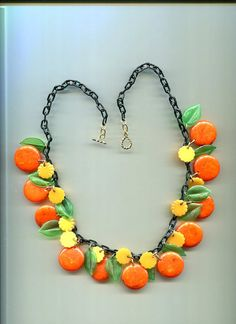 Jan Carlin Orange Blossom Bakelite Necklace by decoderm007 on Etsy, $49.00