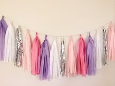 Lilac Purple and Silver Tassel Garland by BlushBazaar