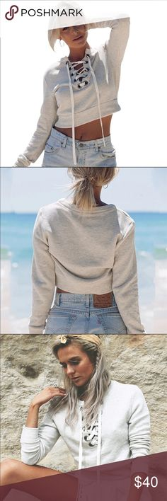 PREORDER LACE UP CROP SWEATER This is my favorite sweater ever 😌💕 Pair it with high waisted shorts, or even leggings! The lace up is perfect! The sleeves are long! 😄 please allow 10-15 days to ship! Any questions comment below!! :) Tea n Cup Sweaters