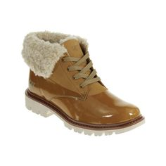 Women's Caterpillar Hub Fur Ankle Boot - Honey Reset Nubuck/Wool Ankle... ($130) ❤ liked on Polyvore featuring shoes, boots, ankle booties, brown, bootie boots, fur booties, ankle boots, short fur boots e caterpillar boots