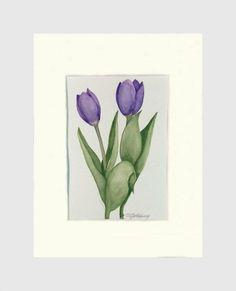 Tulips Purple 2, Original, Frame Ready in 8x10 Mat #originalwatercolor #weddinggifts #giftideas