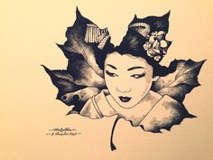 A new direction of my Japanese inspired portraits. My Autumn Geisha. Micron pen.