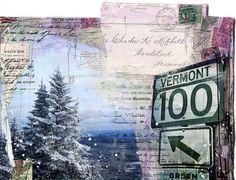 Route 100  original 7 x 10 mixed media painting by maechevrette