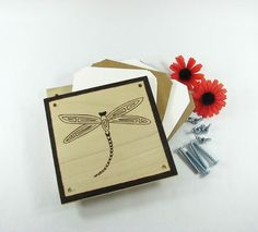 Flower Press  Wood Pyrography  Dragonfly Plant Press by bkinspired