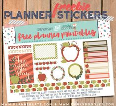 Free Printable Apple Planner Stickers from Dorky Doodles