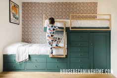 How I built offset bunk beds for my kids' room. The offset built in bunk beds have 13 storage drawers for clothes as well as a hidden storage area. Bunk Beds Small Room, Bunk Bed Rooms, Bunk Beds Built In, Bunk Beds With Storage, Kids Bunk Beds, Bed Storage, Storage Area, Hidden Storage, Storage Drawers