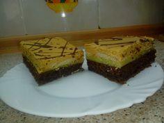 Vynikající řezy s kakaovou piškotou, vanilkovým krémem, bebe sušenkami a karamelovou vrstvou. Autor: Janinka