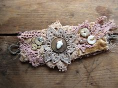 antique textile wristcuff - designed in any style just for you - steampunk- gothic - vintage. $55.00, via Etsy.